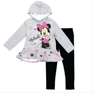 Grey & Pink Minnie Mouse Fleece Hoodie Set
